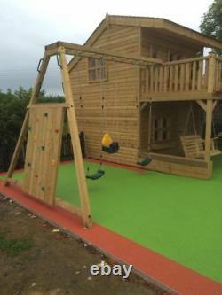MEGA FORT Jungle Gym, Huge Spec, Outdoor, Garden, Two Tier, Steel Slide, Swing