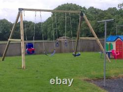 MISSISSIPPI QUADRUPLE Heavy Duty Quad Wooden Swing Set, Pressure Treated, Kids