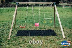 MISSISSIPPI TRIPLE Heavy Duty, Wooden Children's Swing Set, Outdoor fun