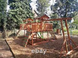 NEW-Big Wooden Climbing frame, monkey bars, Slid, Swing, assembly included