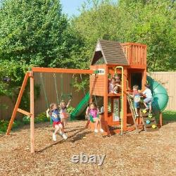 New Outdoor Kids Wooden Play centre 3-Level Fort Swings climbing Straight Slide