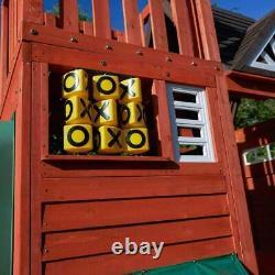 Outdoor Kids Wooden Playcentre children 3-Level, playhous Tube 100Straight Slide