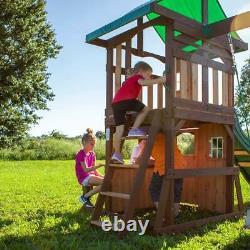 Outdoor Wooden Climbing Frame Slide Triple Swing Play Set Kids Garden Playground