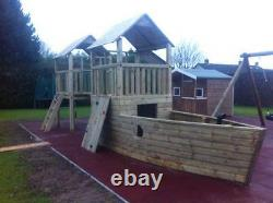 PIRATES SHIP BOAT + 5ft LOOK OUT TOWER Climbing Frame Set Kids Climb HUGE SPEC