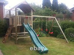 PRICE REDUCED QUALITY CLIMBING FRAME 6ft BASE RSP £1195 Monkey Bar swings slide