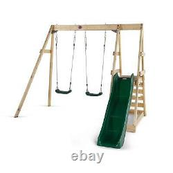 Plum Wooden Climbing Frame Tamarin With Two Swings, Slide & Wooden Platform