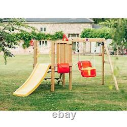 Plum Wooden Climbing Frame Toddlers Tower With Baby Swing, Slide & Accessories