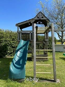 RAINBOW Climbing Frame with Slide, Monkey Bars, Picnic Table + Triple Swing Arm
