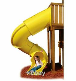 RED HILLS Climbing Frame Wooden Outdoor Playhouse Monkey Bars 2.1m Tube Slide