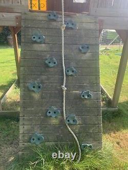Rainbow Climbing Frame Garden With Slide Swings & Climbing Wall