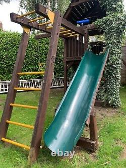 Rainbow Wooden Children's Playground Play Area Slide Swing Climbing Wall Bars