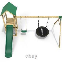 Rebo Adventure Playset Wooden Climbing Frame, Swing Set and Slide Fairweather