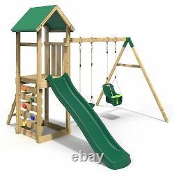 Rebo Adventure Playset Wooden Climbing Frame, Swing Set and Slide Rainier