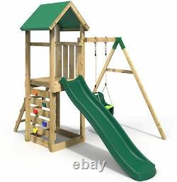 Rebo Adventure Playset Wooden Climbing Frame, Swing Set and Slide Rosa