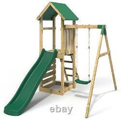 Rebo Adventure Playset Wooden Climbing Frame, Swing Set and Slide Rushmore