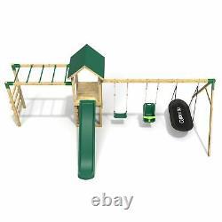 Rebo Adventure Playset Wooden Climbing Frame with Monkey Bar, Swings & Slide