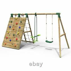 Rebo Beat The Wall Wooden Swing Set with Double up & Over Climbing Wall