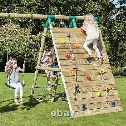Rebo Beat The Wall Wooden Swing Set with Double up & Over Climbing Wall Zenith