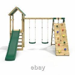 Rebo Challenge Wooden Climbing Frame + Swings, Slide & Climbing Wall Greenhorn