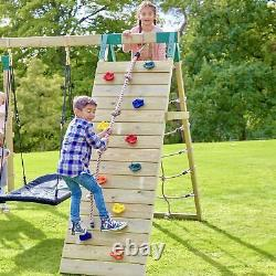 Rebo Challenge Wooden Climbing Frame with Swings, Slide & Climbing wall Ferris
