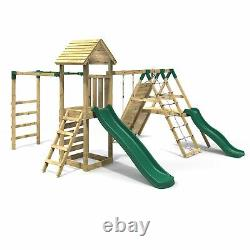 Rebo Wooden Climbing Frame, Swings, Slides, Climbing wall & Monkey Bars Brecon