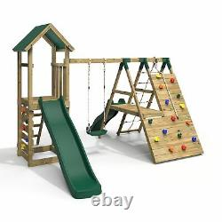 Rebo Wooden Climbing Frame with Swings, 6+8FT Slides & Climbing Wall- Alverstone