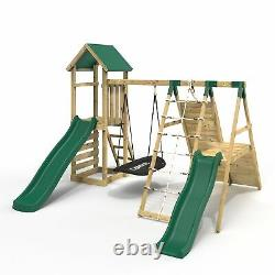 Rebo Wooden Climbing Frame with Swings, 6+8FT Slides & Climbing Wall Crestone