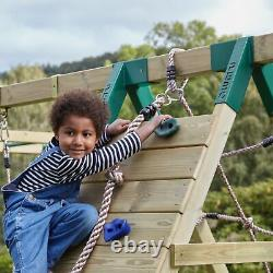 Rebo Wooden Climbing Frame with Swings, 6+8FT Slides & Climbing Wall Twilight