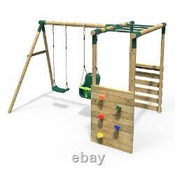 Rebo Wooden Garden Children's Swing Set with Monkey Bar Attachment