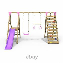 Rebo Wooden Swing Set with Deck & Slide plus Up & Over Climbing Wall Jasper