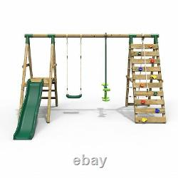 Rebo Wooden Swing Set with Deck & Slide plus Up & Over Climbing Wall Obsidian