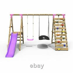 Rebo Wooden Swing Set with Deck & Slide plus Up & Over Climbing Wall Quartz