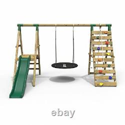 Rebo Wooden Swing Set with Deck & Slide plus Up and Over Climbing Wall Pyrite