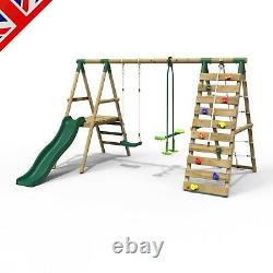 Rebo Wooden Swing Set with Deck and Slide plus Up and Over Climbing Wall