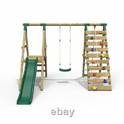 Rebo Wooden Swing Set with Deck and Slide plus Up and Over Climbing Wall Amber