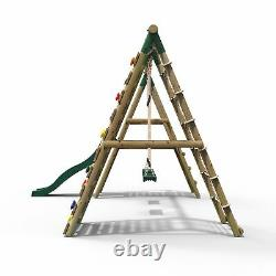 Rebo Wooden Swing Set with Deck and Slide plus Up and Over Climbing Wall Jade