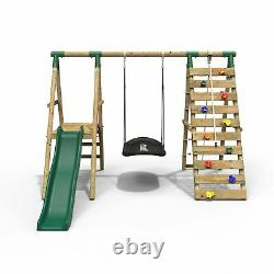 Rebo Wooden Swing Set with Deck and Slide plus Up and Over Climbing Wall Onyx