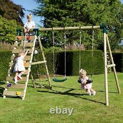Rebo Wooden Swing Set with Up and Over Climbing Wall