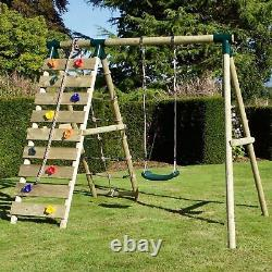 Rebo Wooden Swing Set with Up and Over Climbing Wall Aria Green