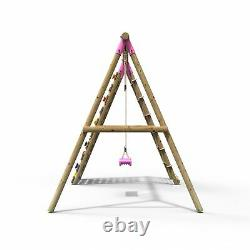 Rebo Wooden Swing Set with Up and Over Climbing Wall Aria Pink
