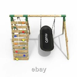 Rebo Wooden Swing Set with Up and Over Climbing Wall Eden Green