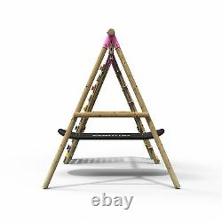 Rebo Wooden Swing Set with Up and Over Climbing Wall Eden Pink