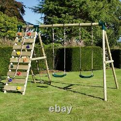 Rebo Wooden Swing Set with Up and Over Climbing Wall Ela Green