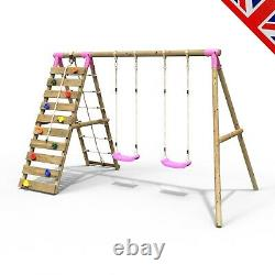 Rebo Wooden Swing Set with Up and Over Climbing Wall Ela Pink