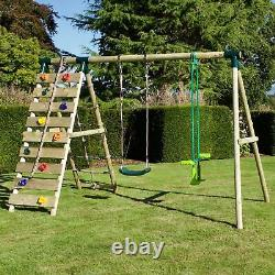 Rebo Wooden Swing Set with Up and Over Climbing Wall Isla Green
