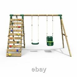 Rebo Wooden Swing Set with Up and Over Climbing Wall Kai Green