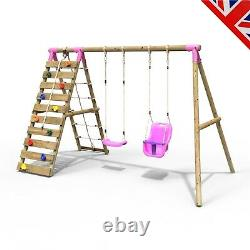 Rebo Wooden Swing Set with Up and Over Climbing Wall Kai Pink