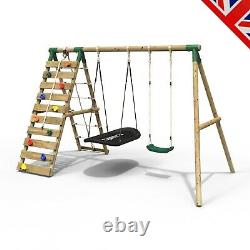Rebo Wooden Swing Set with Up and Over Climbing Wall Sage Green