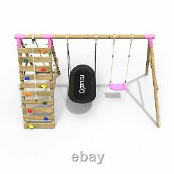 Rebo Wooden Swing Set with Up and Over Climbing Wall Sage Pink