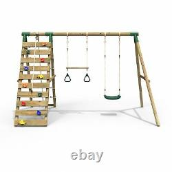 Rebo Wooden Swing Set with Up and Over Climbing Wall Savannah Green